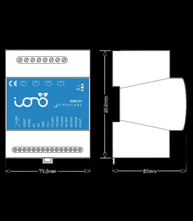 Iono Pi - Raspberry Pi PLC - Relays Digital/Analog I/O 1-Wire DIN
